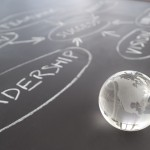 Flowchart on a chalk board with world globe