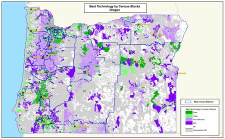 Best Technologies by Census Block Heat Map - Oregon Broadband Study 2020